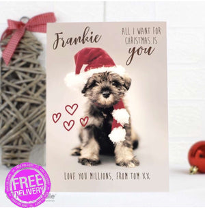 Personalised Rachael Hale 'All I Want For Christmas' Puppy Card from Pukkagifts.uk