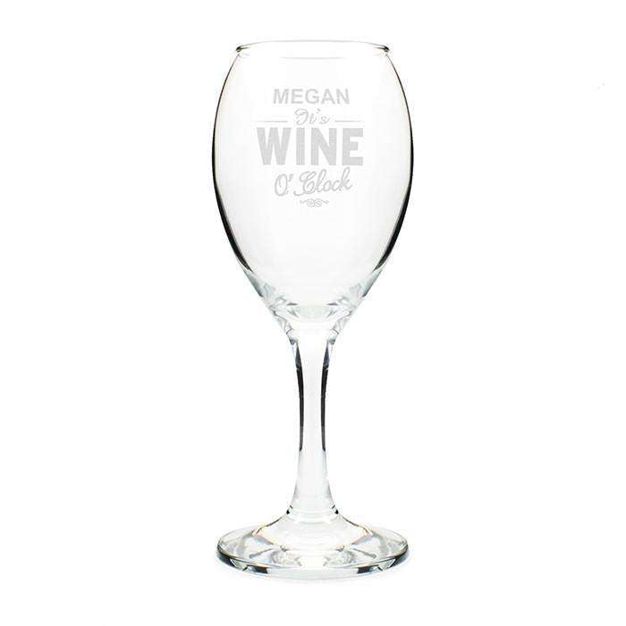 Personalised Wine O'Clock Engraved Wine Glass from Pukkagifts.uk