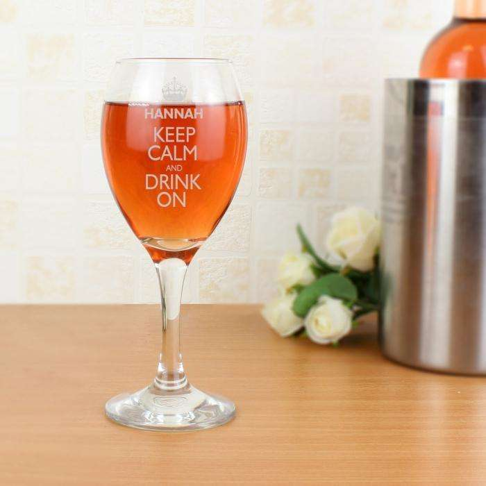Personalised Keep Calm Engraved Wine Glass from Pukkagifts.uk