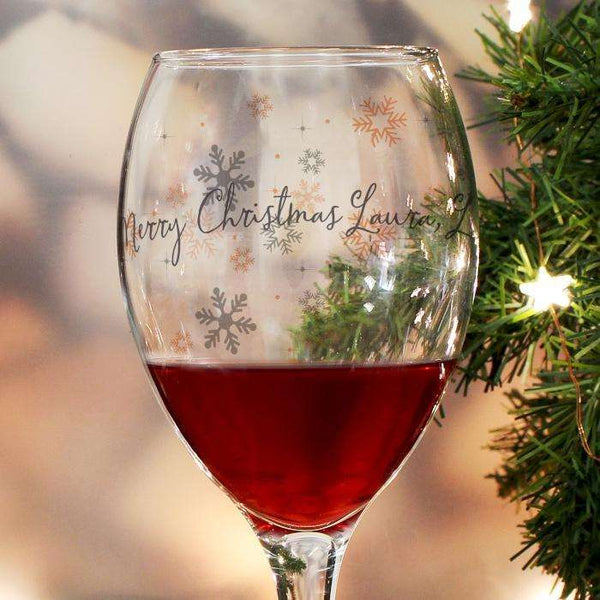 Personalised Snowflake Design Wine Glass from Pukkagifts.uk