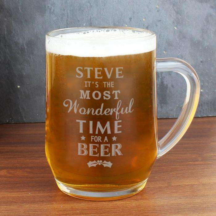 Personalised Most Wonderful Time For A Beer Glass Tankard from Pukkagifts.uk