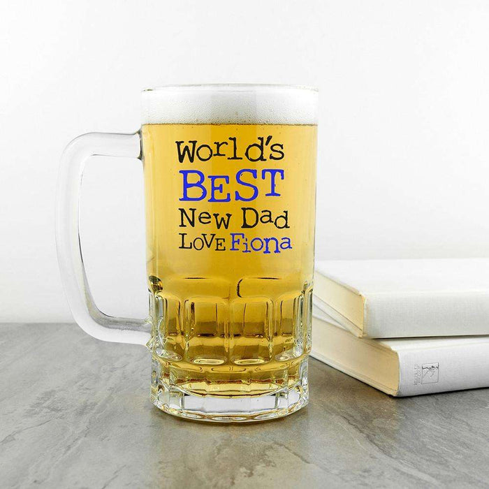 World's Best New Dad Glass Tankard from Pukkagifts.uk