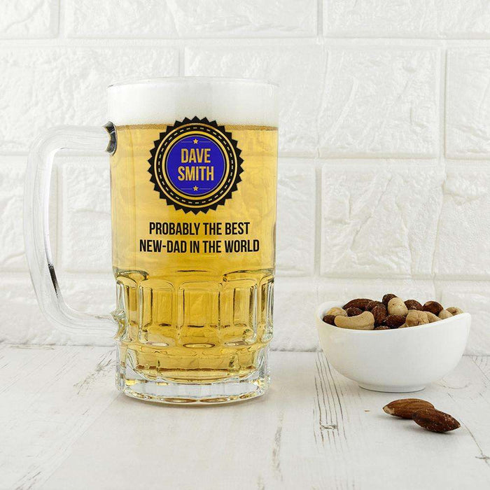 Probably The Best New Dad In The World Glass Tankard from Pukkagifts.uk