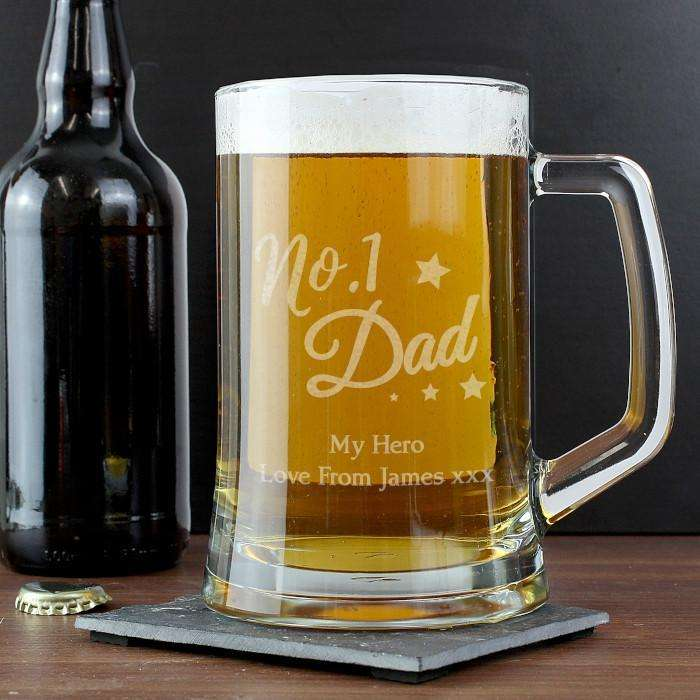Personalised 'No.1 Dad' Glass Pint Stern Tankard from Pukkagifts.uk