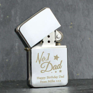 Personalised 'No.1 Dad' Silver Lighter from Pukkagifts.uk