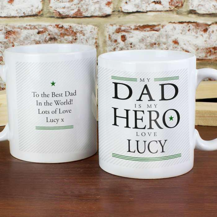 Personalised Dad Mug My Dad Is My Hero from Pukkagifts.uk