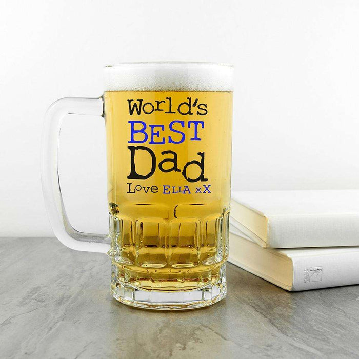 Personalised World's Best Dad Beer Glass Tankard from Pukkagifts.uk