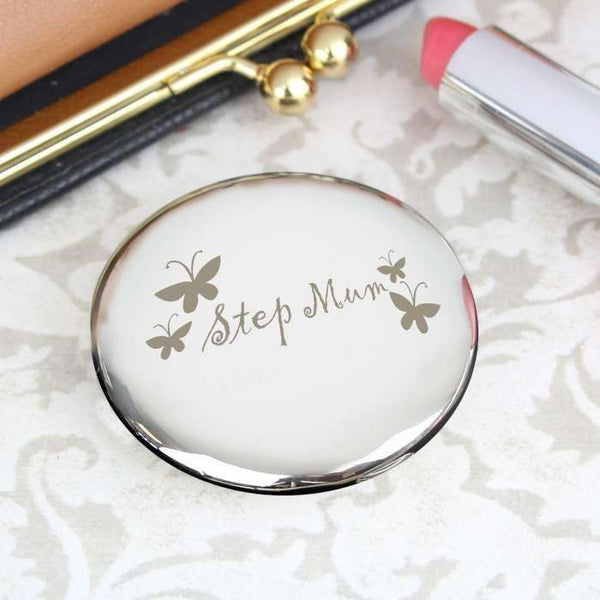 Step Mum Round Compact Mirror from Pukkagifts.uk