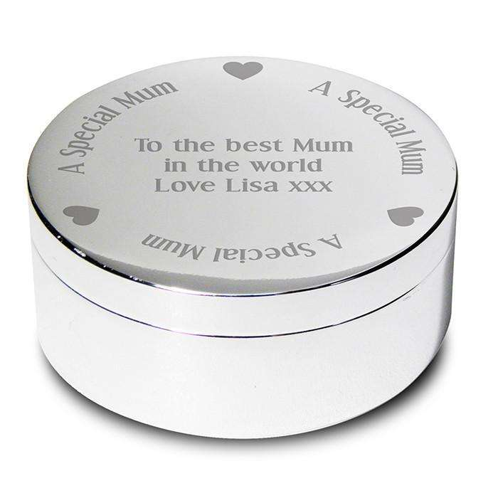 Personalised A Special Mum Round Trinket Box from Pukkagifts.uk