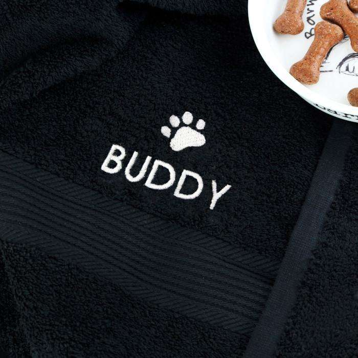 Personalised Pet Paw Black Bath Towel from Pukkagifts.uk