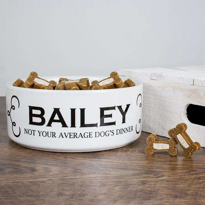 Personalised Dogs Dinner Dog Food Bowl from Pukkagifts.uk