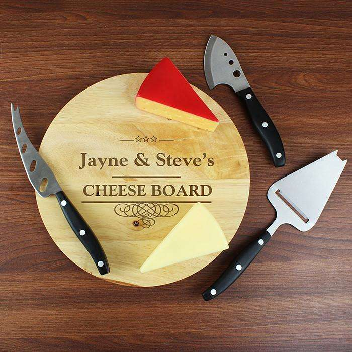 Personalised Decorative Swirl Cheeseboard with 3 Cheese Knives from Pukkagifts.uk