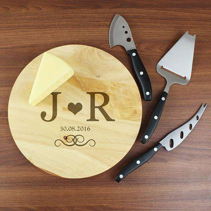 Personalised Monogram Cheeseboard with 3 Cheese Knives from Pukkagifts.uk