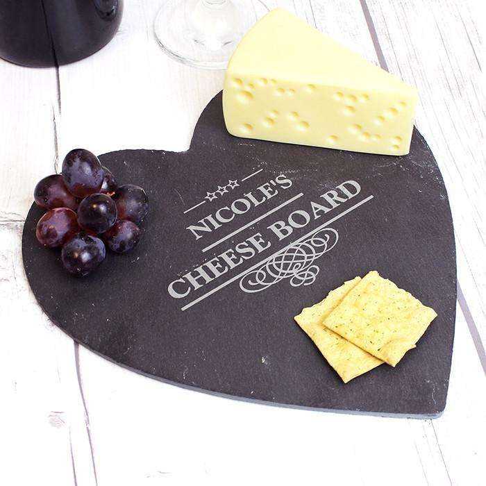 Personalised Decorative Slate Heart Cheese board from Pukkagifts.uk