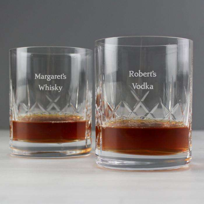 Personalised Pair of Crystal Whisky Glasses from Pukkagifts.uk