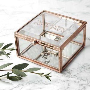 Personalised Rose Gold Glass Trinket Box from Pukkagifts.uk