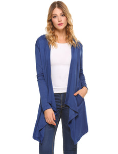 iClosam Womens Long Sleeve Draped Open Front Hooded Cardigan Sweater with  Pockets 60f835c49