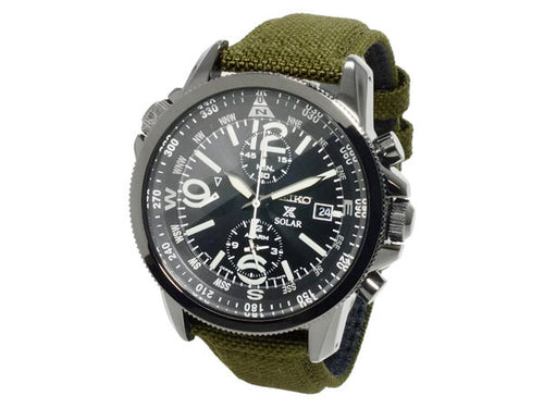 Seiko Prospex Solar Military Alarm Chronograph SSC295 SSC295P1 SSC295P Men's Watch