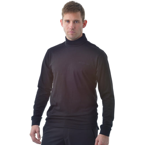 802821 Catmandoo Men's Free Black Cotton Rollneck Base Layer Top Model Image