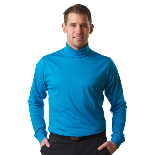 802821 Catmandoo Men's Free Blue Cotton Rollneck Base Layer Top Model Image