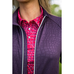 803111 Catmandoo Michelle Womens Plum Zip-Thry Mid Layer Jacket Closeup Model Image