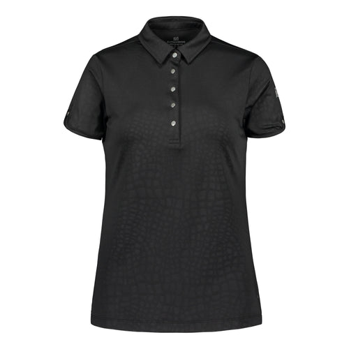 803114 Catmandoo Candie Black Embossed Polo Shirt Product Image Front
