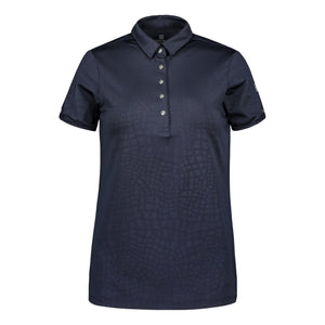 803114 Catmandoo Candie Navy Embossed Polo Shirt Product Image Front