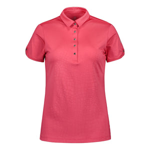 803114 Catmandoo Candie Raspberry Embossed Polo Shirt Product Image Front
