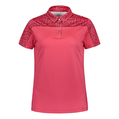 803118 Catmandoo Jenny Ladies Half Print Raspberry Polo Shirt Product Image Front