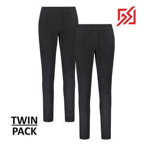 804116 CMD Womens Black Fleece Thermal Leggings Twin-Pack Product Image Front