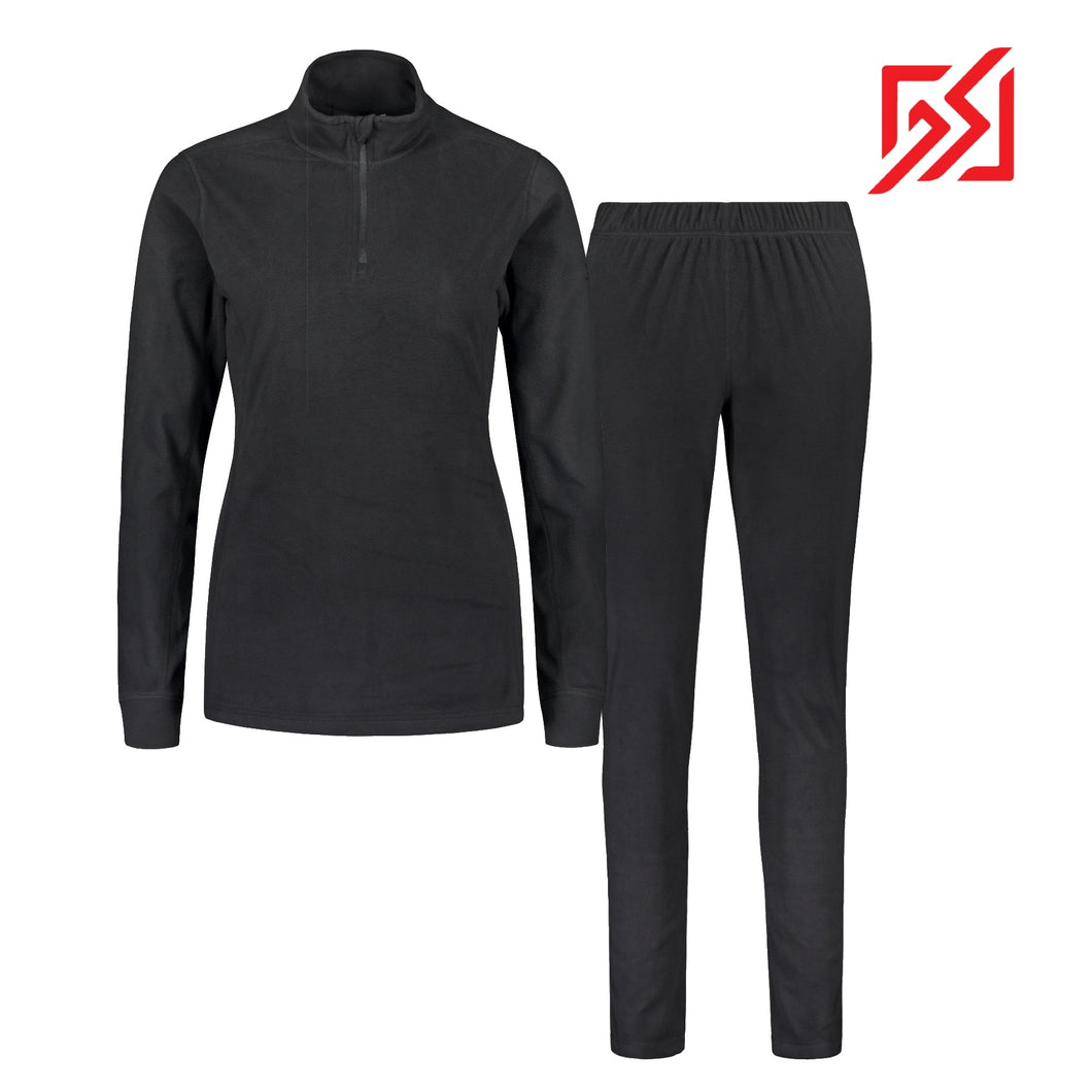 804116 Catmandoo Lucania Womens Black Microfleece Mid Layer Set Product Image Front