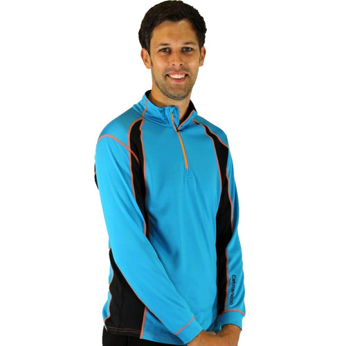 852800 Catmandoo Men's Matthew Performance Thermal Mid Layer Top Peacock Blue Product Image Front