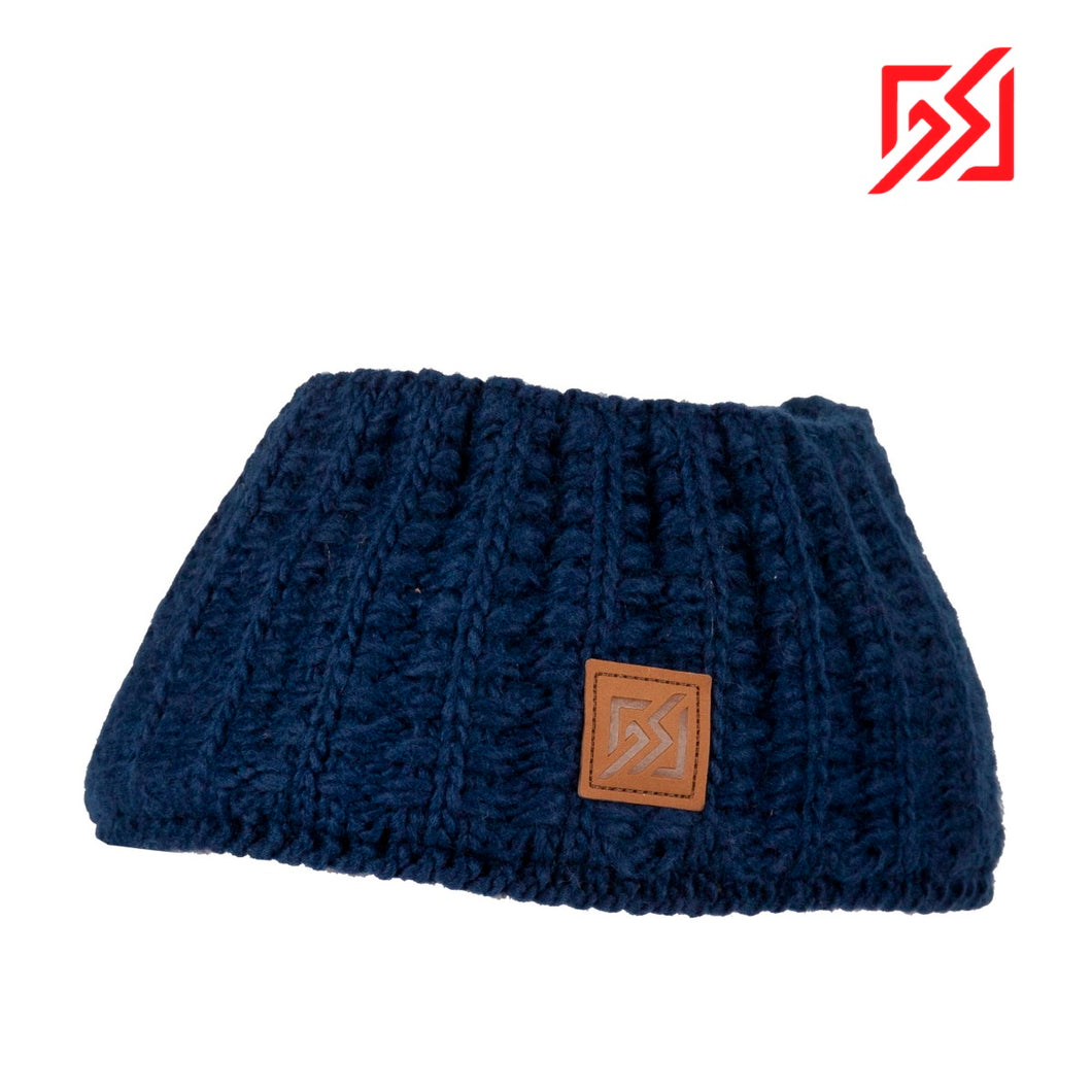 862909 CMD Womens Navy Chunky Knit Winter Headband Product Image Front