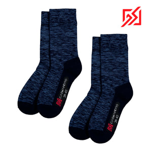 862971 CMD Unisex Navy Melange Warm Wool-Mix Winter Sock Twin Pack Product Image Front