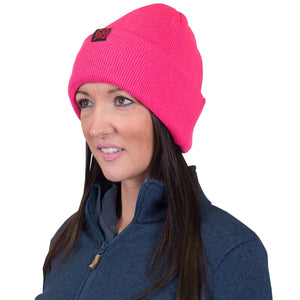 872904 CMD Womens Pink Thick Ribbed Knit Beanie Hat Model Image