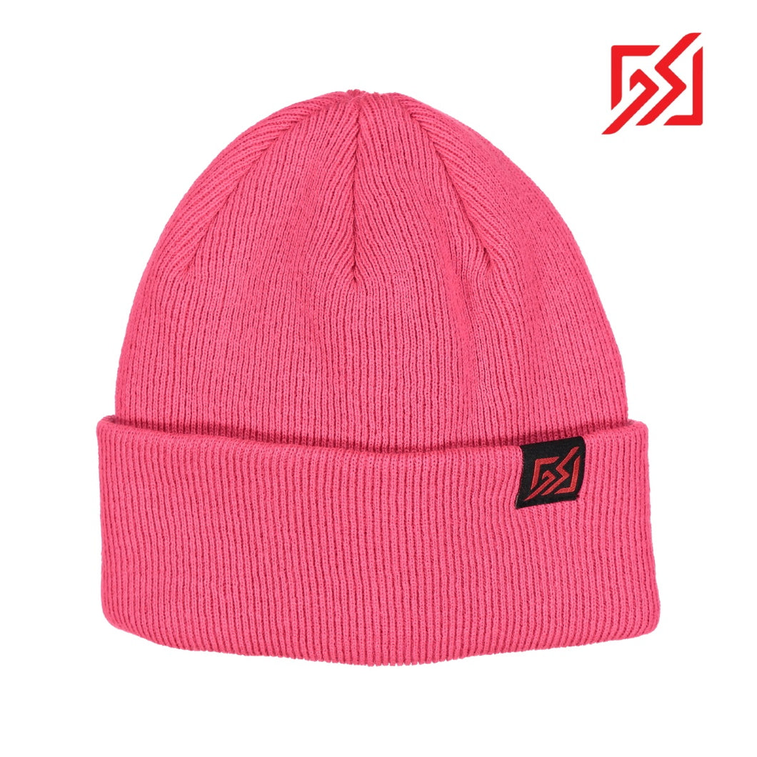 872904 CMD Womens Pink Thick Ribbed Knit Beanie Hat Product Image Front