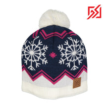 872909 CMD Womens Dark Blue & White Wool-Mix Knitted Winter Bobble Hat Product Image Front