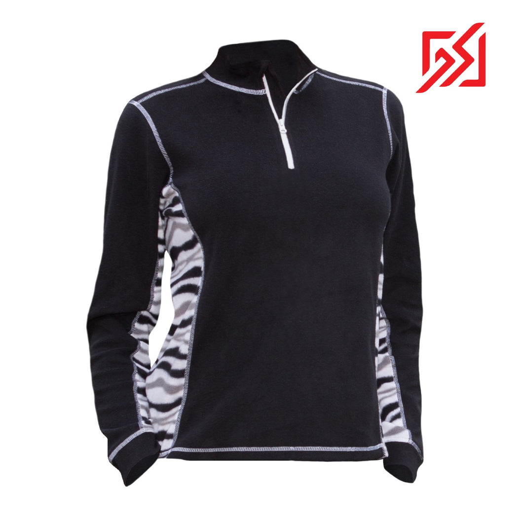 882035 CMD Sania Womens Black & Zebra Print Fleece Pullover Product Image Front