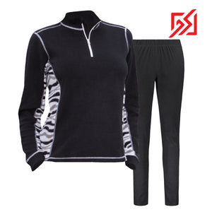 882035 CMD Sania Womens Black & Zebra Print Fleece Pullover Set Product Image Front