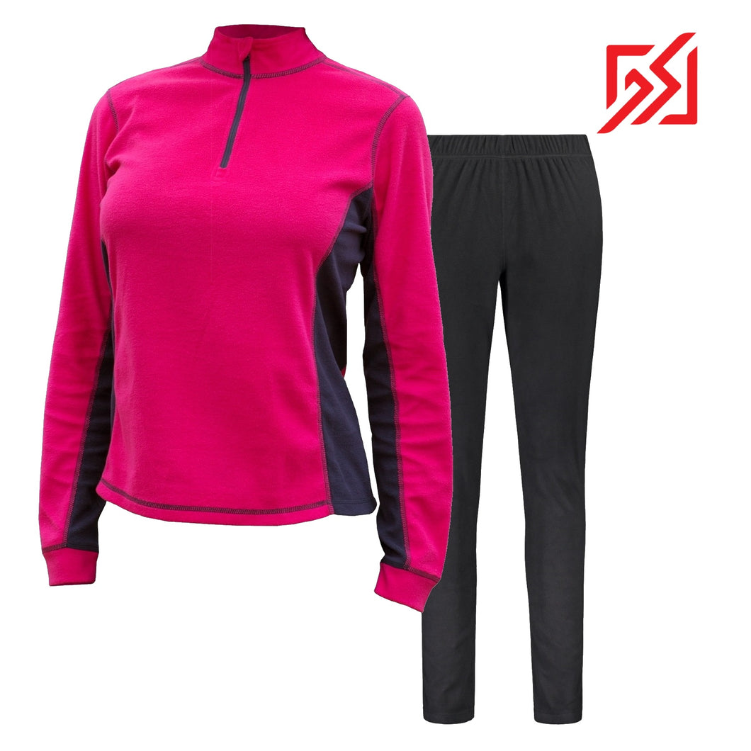 882035 CMD Sania Womens Bright Rose Fleece Pullover Set Product Image Front