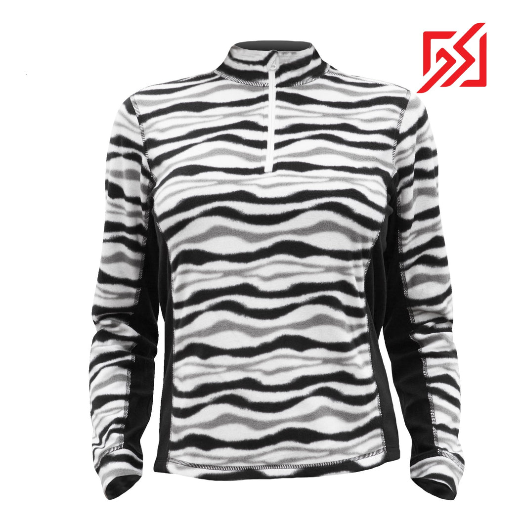 882035 CMD Sania Womens Zebra Print Fleece Pullover Product Image Front