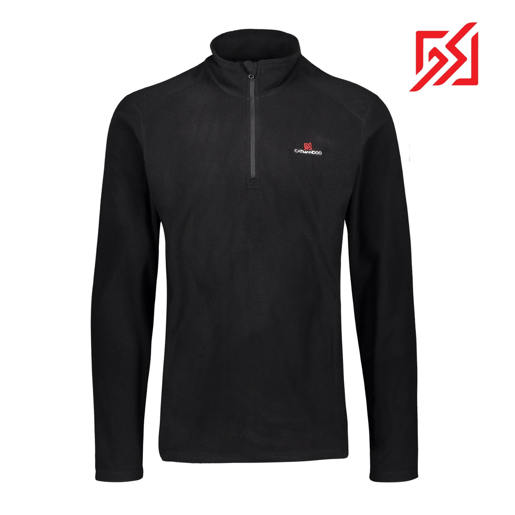 882108 CMD Mens Edis Black Thermal Fleece Pullover Product Image Front
