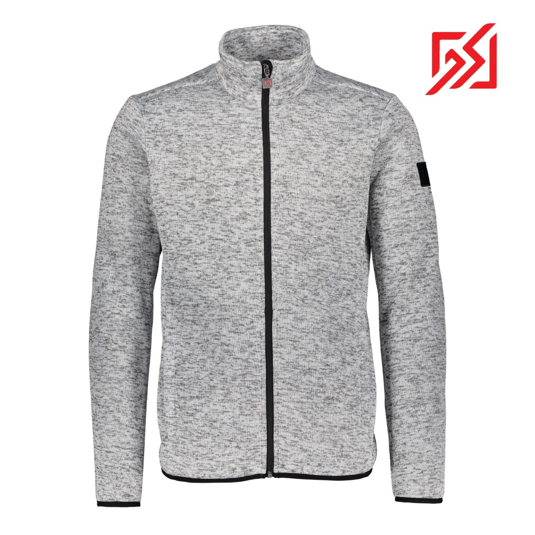 882121 CMD Mens Samsa Light Grey Melange Full-Zip Knitted Fleece Jacket Product Image Front