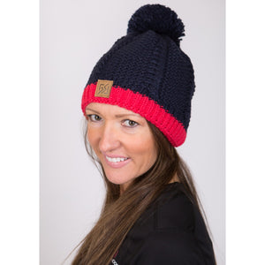 882317 CMD Womens Navy & Pink Chunky Knit Contrast Beanie Bobble Hat Model Image