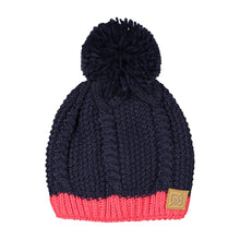 882317 CMD Womens Navy & Pink Chunky Knit Contrast Beanie Bobble Hat Product Image Front