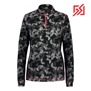 892036 CMD Shirley Womens Black Geometric Print Fleece Pullover Product Image Front