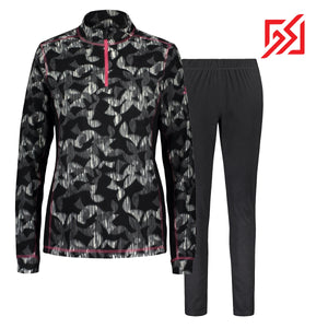 892036 CMD Shirley Womens Black Geometric Print Fleece Pullover Set Product Image Front