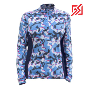892036 CMD Shirley Womens Blue Geometric Print Fleece Pullover Product Image Front