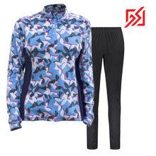892036 CMD Shirley Womens Blue Geometric Print Fleece Pullover Set Product Image Front