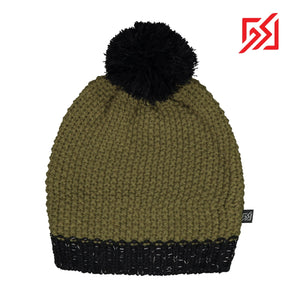 CMD Green Chunky Knit Winter Bobble Hat w/ Reflective Detail